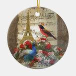 Vintage Paris & birds music sheet collage Ornaments