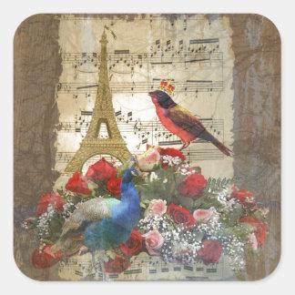 Vintage Paris & birds music sheet collage Square Sticker