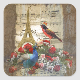 Vintage Paris & birds music sheet collage Stickers