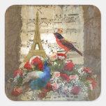 Vintage Paris & birds music sheet collage Stickers