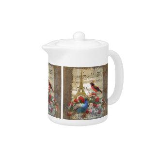 Vintage Paris & birds music sheet collage Teapot