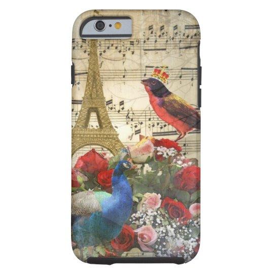 Vintage Paris & birds music sheet collage Tough iPhone 6 Case
