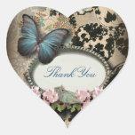 Vintage Paris blue Butterfly Damask thank you Heart Sticker
