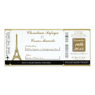 Vintage Paris Boarding Pass Wedding Invitation