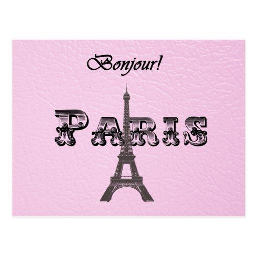 Vintage  Paris Bonjour Eiffel Tower Post Card