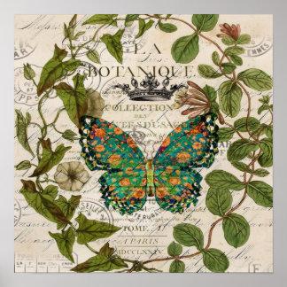 vintage paris botanical art teal butterfly poster