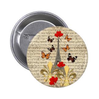Vintage Paris & butterflies 2 Inch Round Button