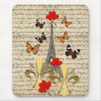 Vintage Paris & butterflies Mouse Pad