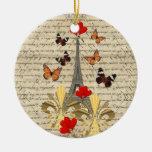 Vintage Paris & butterflies Double-Sided Ceramic Round Christmas Ornament