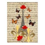 Vintage Paris & butterflies Postcard