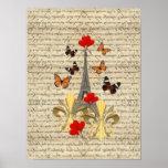 Vintage Paris & butterflies Poster