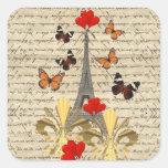 Vintage Paris & butterflies Square Sticker