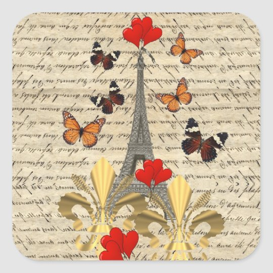 Vintage Paris & butterflies Square Sticker