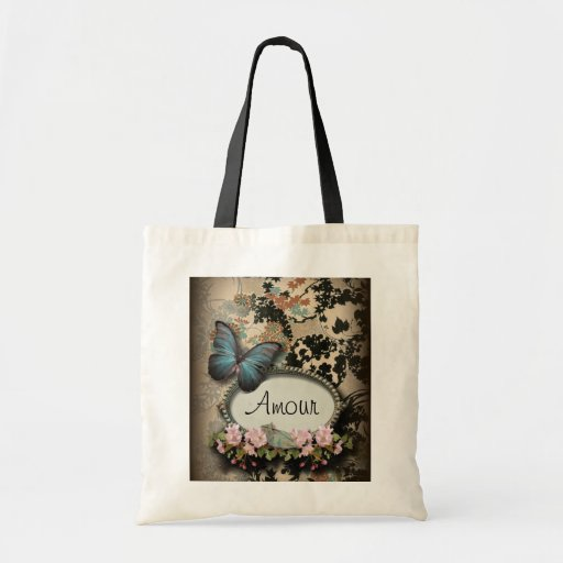 Vintage Paris Butterfly Damask Monogram Canvas Bags