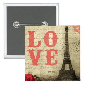 Vintage Paris 2 Inch Square Button