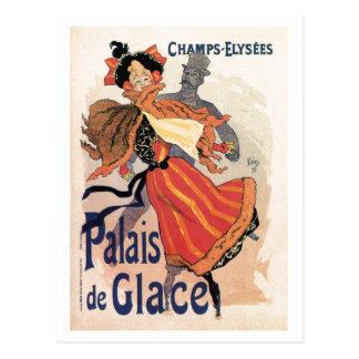Vintage Paris Champs Elysées ice skating Postcard
