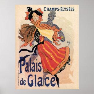 Vintage Paris Champs Elysées ice skating Poster