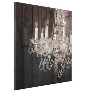 vintage paris chandelier barnwood canvas print
