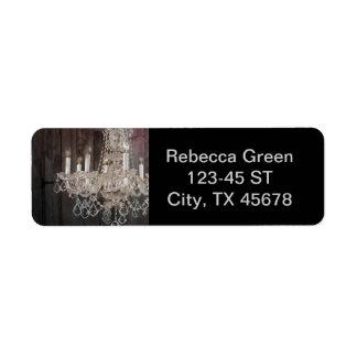 vintage paris chandelier barnwood return address label