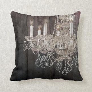 vintage paris chandelier barnwood pillow