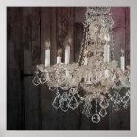 vintage paris chandelier barnwood posters