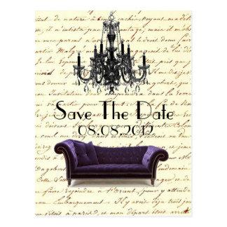 vintage paris chandelier wedding save the date postcard