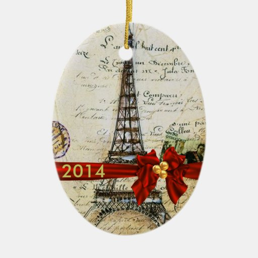 VINTAGE PARIS CHRISTMAS Ornament CUSTOM CHIC 2014