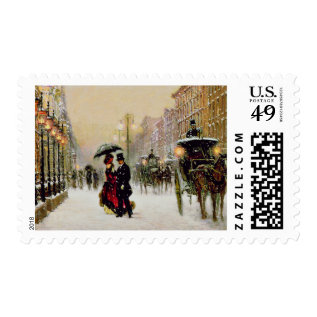 Vintage Paris Christmas Scene Postage Stamps at Zazzle