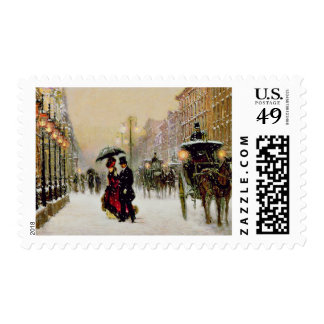 Vintage Paris Christmas Scene Postage Stamps
