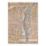 Vintage Paris city map, 1550 Custom Invite