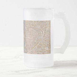 Vintage Paris city map, 1550 Frosted Glass Beer Mug