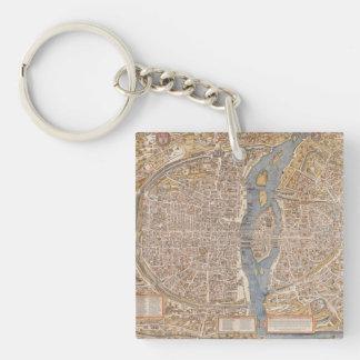 Vintage Paris city map, 1550 Keychain
