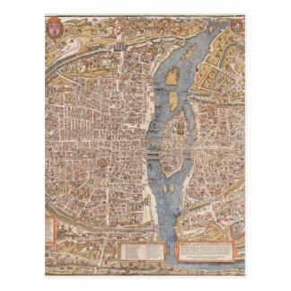 Vintage Paris city map, 1550 Postcards