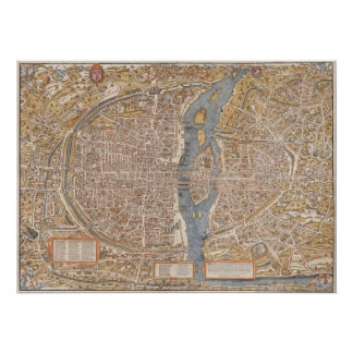Vintage Paris city map, 1550 Poster