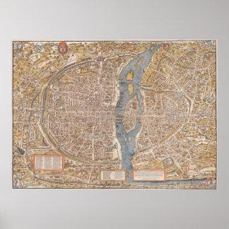 Vintage Paris city map, 1550 Posters