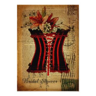 vintage paris corset retro bridal shower card