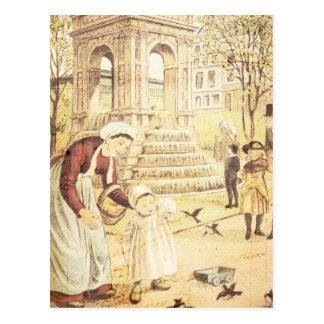Vintage Paris Cute Kid Mother Sparrows Birds Postcard