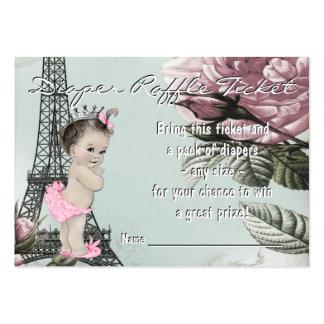 Vintage Paris Diaper Raffle Ticket Large Business Card