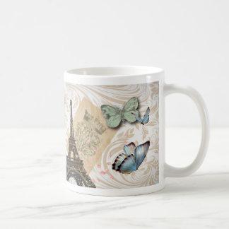 Vintage Paris Effiel Tower Butterfly Fashion Classic White Coffee Mug