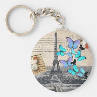vintage  Paris Effiel Tower Butterfly  fashion Basic Round Button Keychain