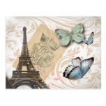 Vintage Paris Effiel Tower Butterfly Fashion Postcard