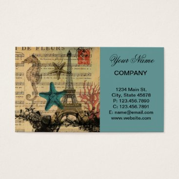 Beach Themed vintage paris eiffel tower beach seashell business card