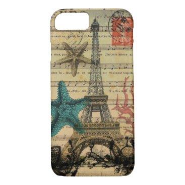 Beach Themed vintage paris eiffel tower beach seashell iPhone 7 case