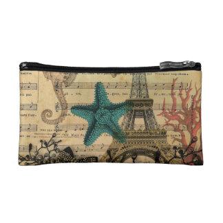 vintage paris eiffel tower beach seashell starfish cosmetic bag
