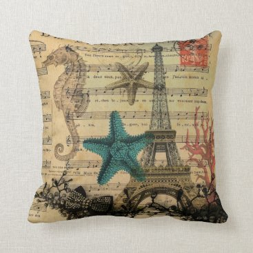 Beach Themed vintage paris eiffel tower beach seashell throw pillow