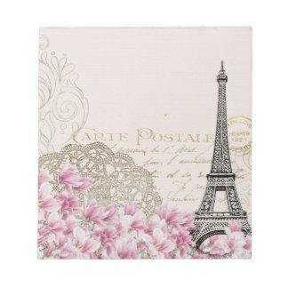 Vintage Paris Eiffel Tower Floral Art Illustration Notepad