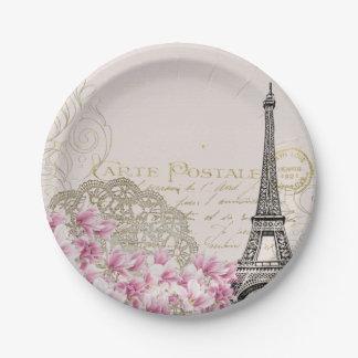 Vintage Paris Eiffel Tower Floral Art Illustration Paper Plate