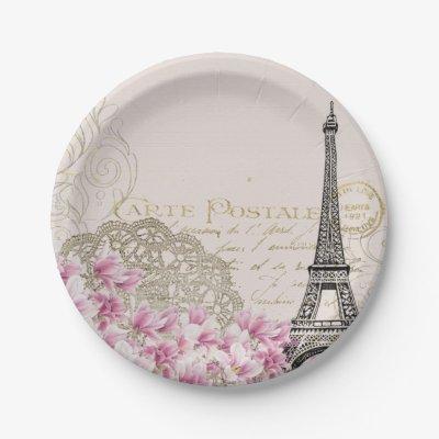 sc 1 st  Zazzle & Paris Eiffel Tower black and white Paper Plate | Zazzle.com