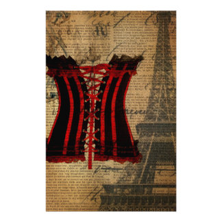 vintage paris eiffel tower girly corset stationery
