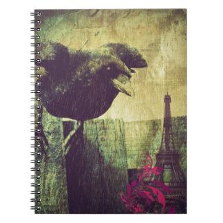 Vintage Paris Eiffel tower halloween Black Raven Notebook